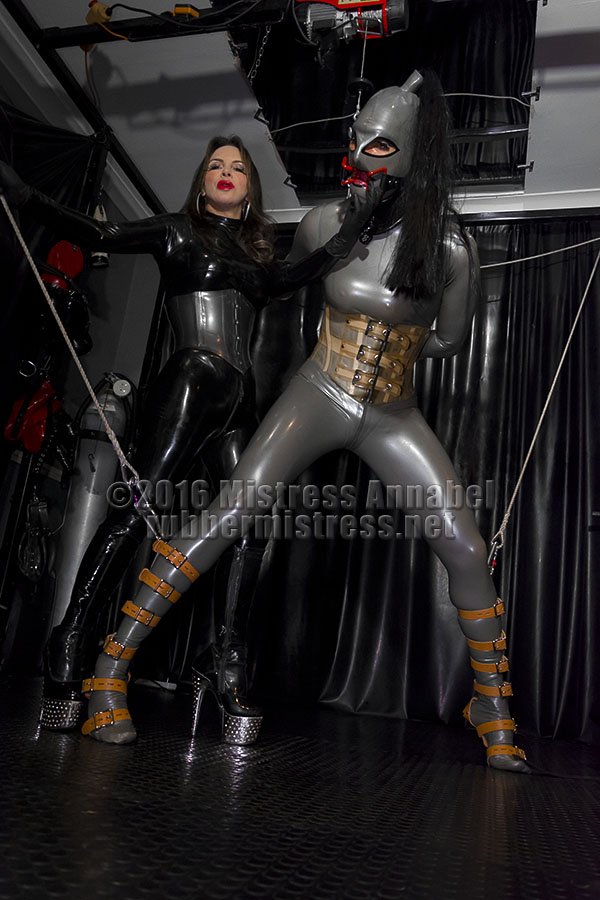 Full latex bondage would